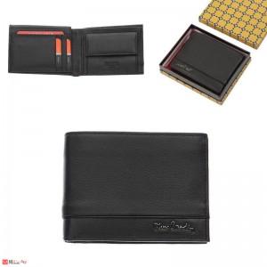 Мъжки портфейл естествена кожа 14x10см, класически, хоризонтален, черен, Pierre Cardin PCL02035