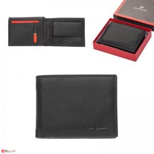 Мъжки класически портфейл 12x11см, мека естествена кожа, хоризонтален, черен, Pierre Cardin PCL02042
