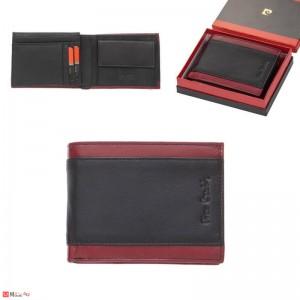 Мъжки портфейл естествена кожа 13x11см, класически, хоризонтален, черно и червено, Pierre Cardin PCL02043
