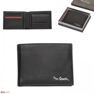 Мъжки портфейл естествена кожа 12x10см, хоризонтален, черен мат, Pierre Cardin PCL02101