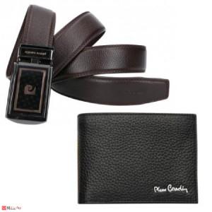 Луксозен Подаръчен сет, мъжки портфейл и колан, естествена кожа, Pierre Cardin PCL045F