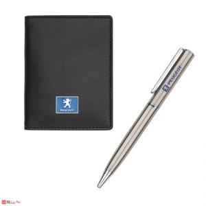 Комплект Химикал и Калъф за документи и карти, тип визитник, естествена кожа, марка Peugeot