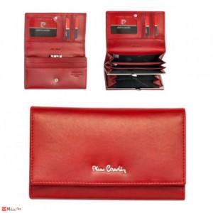 Дамско портмоне от естествена кожа, червено, с монетник - PIERRE CARDIN
