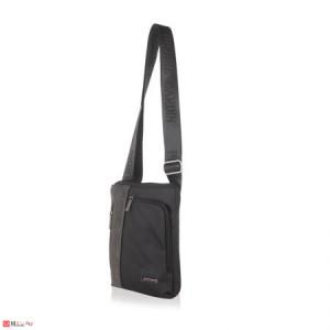 Мъжка Чанта от еко кожа и плат, 22/25см, класически модел за през рамо, PIERRE CARDIN PCL1020B