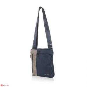 Мъжка Чанта от еко кожа и плат, 22/25см, класически модел за през рамо, PIERRE CARDIN PCL1020F