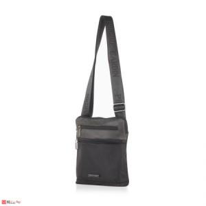 Мъжка Чанта от еко кожа и плат, 22/25см, класически модел за през рамо, PIERRE CARDIN PCL1022B