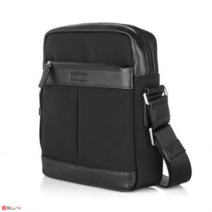 Мъжка Чанта от плат и естествена кожа, 28/25см, класически модел за през рамо, SILVER FLAME LF01M