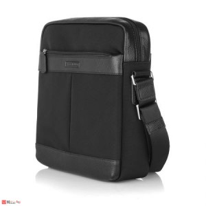 Мъжка Чанта от плат и естествена кожа, 26/23см, класически модел за през рамо, SILVER FLAME LF01S