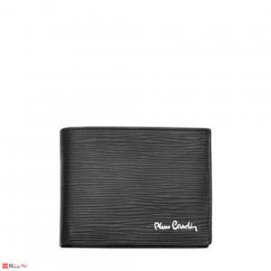 Мъжки портфейл естествена кожа 12x9см, хоризонтален, релефен, черен, Pierre Cardin PCL02004