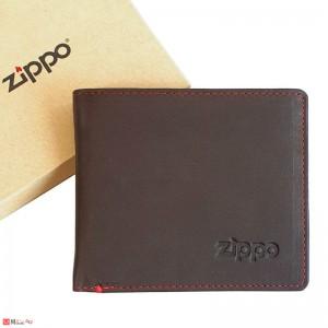 Класически Мъжки Портфейл ZIPPO, хоризонтален, с монетник, естествена кожа, тъмно кафяв, 2005118