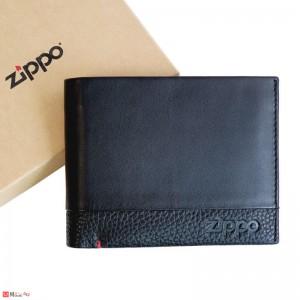 Мъжки Портфейл ZIPPO, естествена кожа, хоризонтален, с монетник и отделения за документи и карти, черен, 2006023