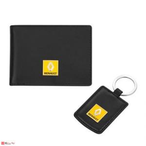 Сет Ключодържател и Калъф за документи и карти, тип визитник, естествена кожа, марка Renault