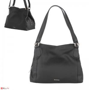 Дамска чанта естествена кожа, дамски чанти тип торба Rossi, черна