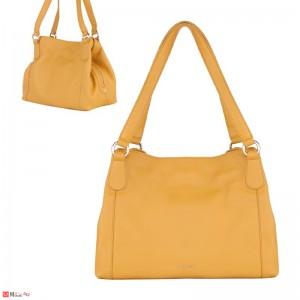 Дамска чанта естествена кожа, дамски чанти тип торба Rossi, светла горчица