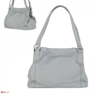 Дамска чанта естествена кожа, дамски чанти тип торба Rossi, сива