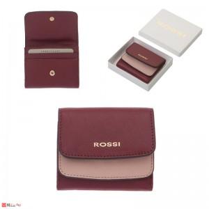 Малко Дамско Портмоне естествена кожа 9х10см, червен и розово, кожени портмонета Rossi