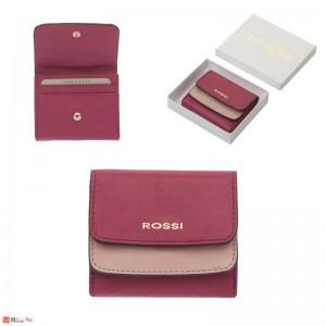 Малко Дамско Портмоне естествена кожа 9х10см, малина и розово, кожени портмонета Rossi