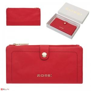 Дамски Портфейл естествена кожа, отделение за телефон, 10х19см, червено, кожени портмонета Rossi