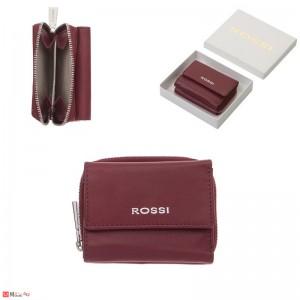 Дамско Портмоне естествена кожа 8х10см, джобно за монети и карти, винено червено, кожени портмонета Rossi