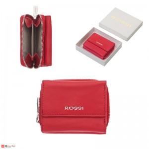 Дамско Портмоне естествена кожа 8х10см, джобно за монети и карти, червено, кожени портмонета Rossi
