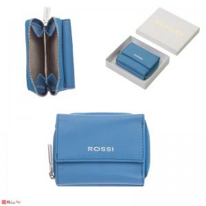 Дамско Портмоне естествена кожа 8х10см, джобно за монети и карти, небесно синьо, кожени портмонета Rossi