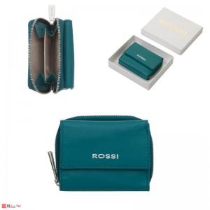 Дамско Портмоне естествена кожа 8х10см, джобно за монети и карти, синьо, кожени портмонета Rossi