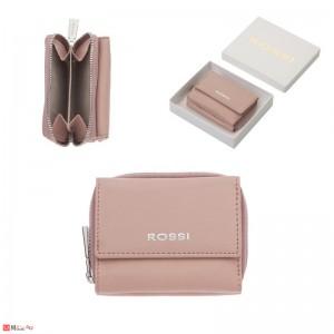 Дамско Портмоне естествена кожа 8х10см, джобно за монети и карти, розово, кожени портмонета Rossi