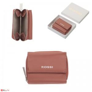 Дамско Портмоне естествена кожа 8х10см, джобно за монети и карти, пепел от рози, кожени портмонета Rossi