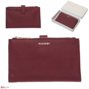 Портмоне естествена кожа, отделение за телефон, 11х18см, бордо, кожени портмонета Rossi