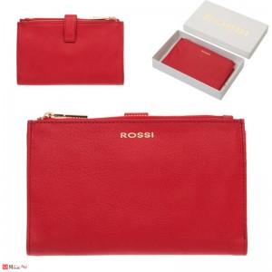 Портмоне естествена кожа, отделение за телефон, 11х18см, червено, кожени портмонета Rossi