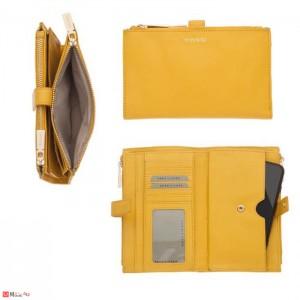 Портмоне естествена кожа, отделение за телефон, 11х18см, жълто, кожени портмонета Rossi