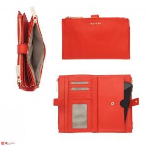 Портмоне естествена кожа, отделение за телефон, 11х18см, оранжево, кожени портмонета Rossi