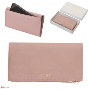 Портмоне естествена кожа, многофункционално, дълго, 10х19см, перлено розово, кожени портмонета Rossi