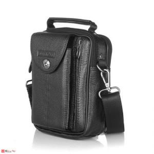Малка Мъжка Чанта от естествена кожа за колан или през рамо, 22/17см, черна, SILVER FLAME SFF02