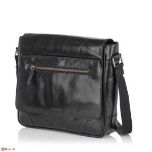 Елегантна Мъжка Чанта от естествена кожа за през рамо, 35/30см, черна, SILVER FLAME SFT8388