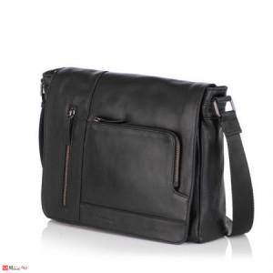 Стилна Мъжка Чанта от естествена телешка кожа за през рамо, 35/30см, черна, SILVER FLAME SFT8485