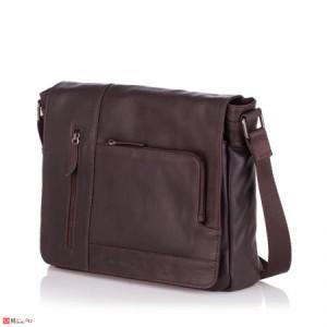 Стилна Мъжка Чанта от естествена телешка кожа за през рамо, 35/30см, кафява, SILVER FLAME SFT8486