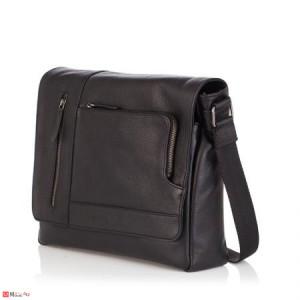 Стилна Мъжка Чанта от естествена телешка кожа за през рамо, 35/30см, черна, SILVER FLAME SFT8487