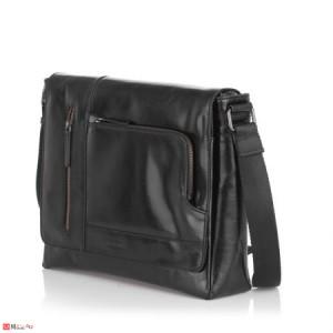 Стилна Мъжка Чанта от естествена телешка кожа за през рамо, 35/30см, черна, SILVER FLAME SFT8488