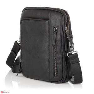 Елегантна Мъжка Чанта от естествена телешка кожа за през рамо, 25/21см, черна, SILVER FLAME SFT8587M