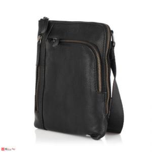 Елегантна Мъжка Чанта от естествена телешка кожа за през рамо, 23/21см, черна, SILVER FLAME SFT8587S