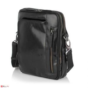 Елегантна Мъжка Чанта от естествена кожа за през рамо, 25/21см, черна, SILVER FLAME SFT8588M