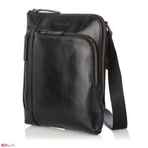 Елегантна Мъжка Чанта от естествена кожа за през рамо, 23/21см, черна, SILVER FLAME SFT8588S