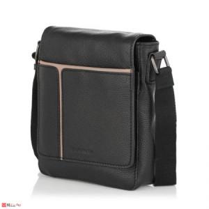 Спортна Мъжка Чанта от естествена кожа за през рамо, 24/20см, черна, SILVER FLAME SFT8689