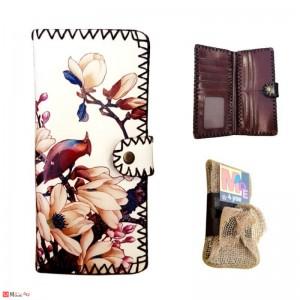 Дамско портмоне с арт декорация флорален мотив с птиче, естествена кожа, Lesszno 450020