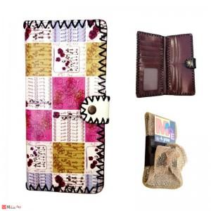 Дамско портмоне от естествена кожа, дълго, арт декорация, многоцветно, Lesszno 450040