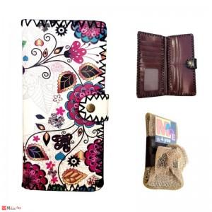 Дамско портмоне с арт декорация, естествена кожа, флорален мотив, Lesszno 450050