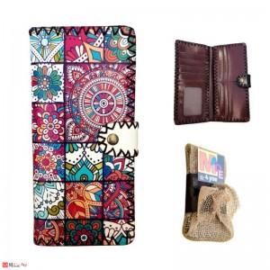 Дамско портмоне от естествена кожа, дълго портмоне с арт декорация, пъстро, Lesszno 450060