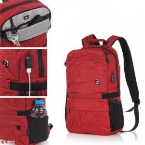 Стилна Бизнес Раница за лаптоп с USB кабел, подходяща и за спорт и туризъм, 15л, SWISSDIGITAL