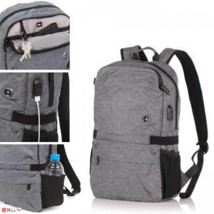 Стилна Бизнес Раница 15л за лаптоп, USB кабел, подходяща и за спорт и туризъм, SWISSDIGITAL